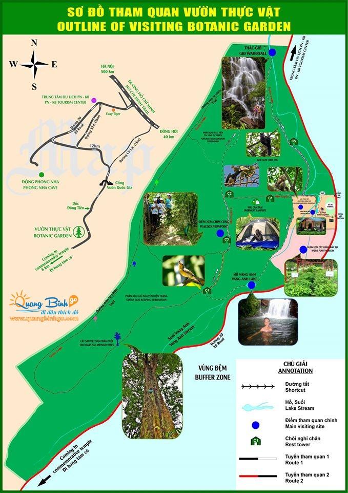 Sơ đồ Vườn thực vật - Thác Gió, Phong Nha - Kẻ Bàng - Lữ hành du lịch - Quảng Bình go 1