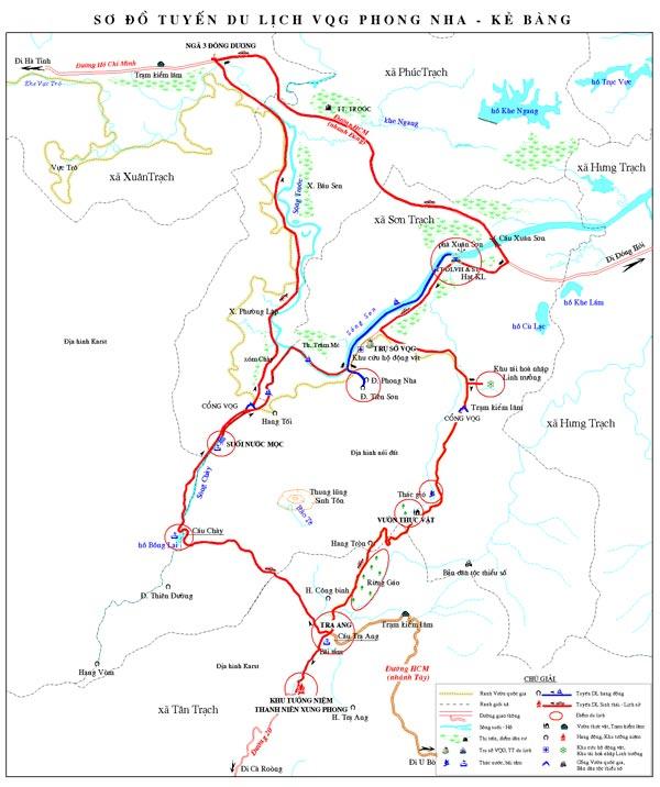 Bản đồ du lịch Phong Nha - Kẻ Bàng, Quảng Bình