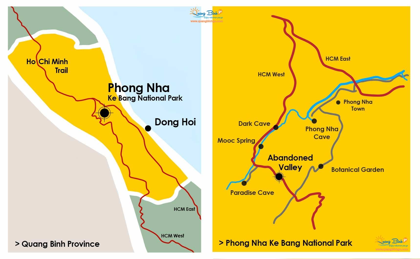 Tourist map of Quang Binh province, Phong Nha - Ke Bang 2