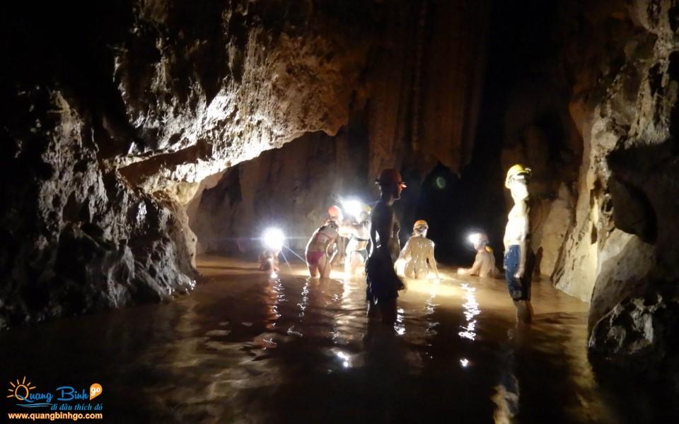 Mud bath in the Dark cave tourist area, Phong Nha, Quang Binh