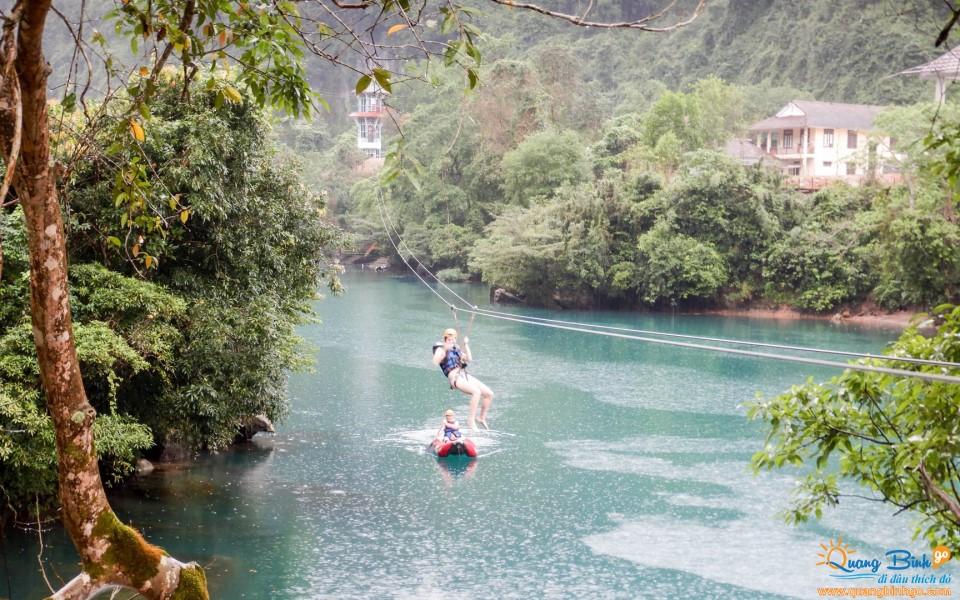 Zipline Chay river Dark cave tourist area Phong Nha
