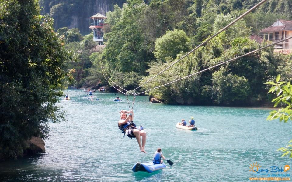 Zipline swing Chay river - Dark cave tourist area Quang Binh
