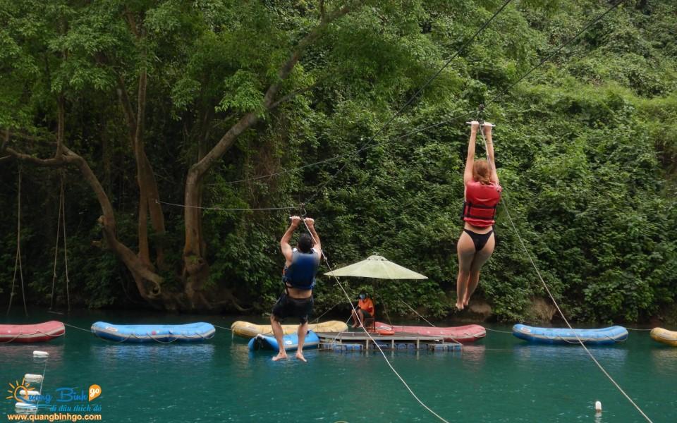 Zipline swing Chay river tourist area Phong Nha
